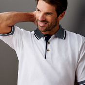 UltraClub® Adult White-Body Classic Piqué Polo with Contrasting Multi-Stripe Trim