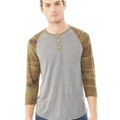 Eco-Jersey Three-Quarter Sleeve Raglan Henley T-Shirt
