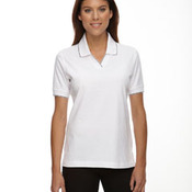 Ladies' Johnny Collar Jersey Polo With Pencil Stripe