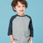 Toddler Fine Jersey Three-Quarter Sleeve Baseball T-Shirt
