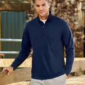 UltraClub Adult 2-Tone Keyhole Mesh 1/4-Zip Pullover
