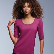 Ladies' Triblend Deep Scoopneck Three-Quarter Sleeve Top