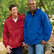 UltraClub® Adult Hooded Zip-Front Pack-Away Jacket