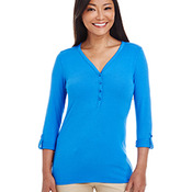 Ladies' Perfect Fit  Y-Placket Convertible Sleeve Knit Top