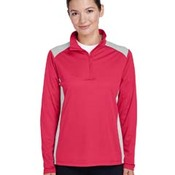 Ladies' Excel Mélange Interlock Performance Quarter-Zip Top