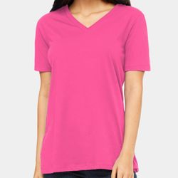 Ladies' Relaxed Jersey Short-Sleeve V-Neck T-Shirt Thumbnail